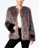 Vera Wang Coat Collarless Faux-Fur Contrast Coat