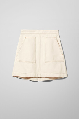 Weekday Maze Ecru Denim Skirt - Beige