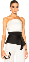 Roland Mouret Penn Double Faced Satin & Stretch Viscose Top in Black,White.