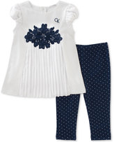 Calvin Klein 2-Pc. Pleated Crochet Tunic & Capri Leggings Set, Baby Girls (0-24 Months)