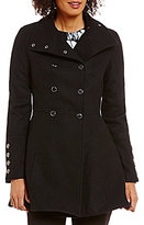 Calvin Klein Double Breasted Fit-And-Flare Wool Military Coat