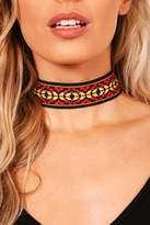 boohoo Scarlett Red Aztec Choker red