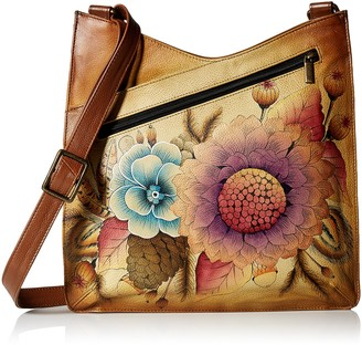 Anna by Anuschka Women's Genuine Leather Large V Top Multi-Compartment Cross Body | Hand Painted Original Artwork | Denim Paisley Floral
