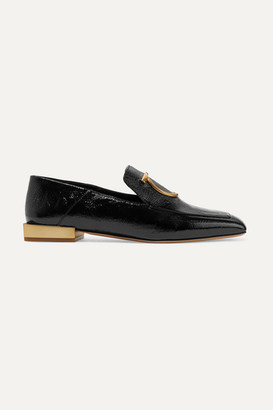 Salvatore Ferragamo Lana Embellished Textured Patent-leather Collapsible-heel Loafers - Black