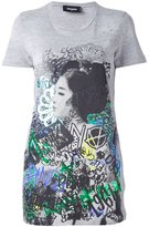 DSQUARED2 graffiti print long T-shirt - women - Cotton/Viscose - XS