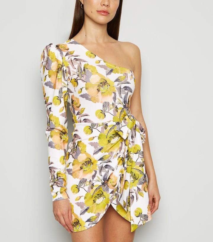 New Look Missfiga Floral One Shoulder Dress