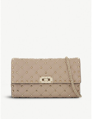 Valentino Quilted spike leather cross-body, Women's, Poudre