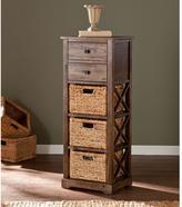 Southern Enterprises Doshie 3-Wicker Basket Storage Cabinet in Antique Brown