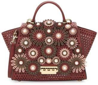 Zac Posen Perforated Leather & Faux-Pearl Floral Top Handle Bag