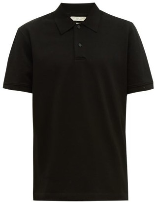 Bottega Veneta Short-sleeved Cotton-pique Polo Shirt - Mens - Black