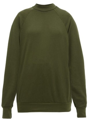 LES TIEN Raglan-sleeve Cotton Sweatshirt - Khaki