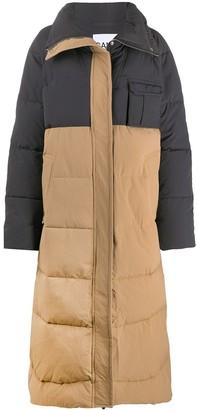 Ganni Colour Block Padded Long Coat