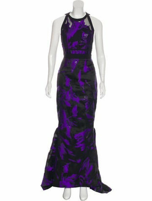 J. Mendel Brocade Evening Dress Black