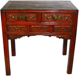 One Kings Lane Vintage Antique Chinese Hand-Carved Red Desk