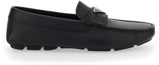 Prada Mens Black Leather Loafers
