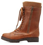 Charlotte Russe Bamboo Knit-Trim Combat Boots