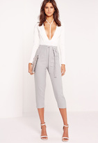 Missguided Crepe Tie Waist Tapered Cropped Pants Grey