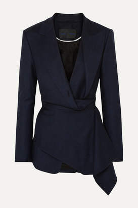 Proenza Schouler Draped Checked Wool-blend Wrap Blazer - Navy