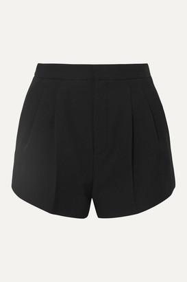 Saint Laurent Belted Pleated Grain De Poudre Wool Shorts - Black