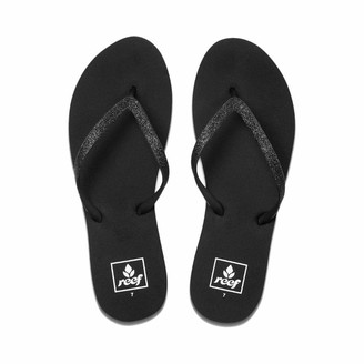 Reef Women's Sandals Stargazer   Glitter Flip Flops for Women with Soft Cushion Footbed   Waterproof   Black/Black   Size 5