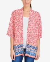NY Collection Printed Wide-Sleeve Kimono