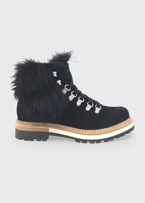 Montelliana 1965 Clara Suede Fur Hiker Boots, Black