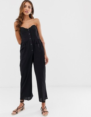 Asos DESIGN bandeau button front jumpsuit with pockets