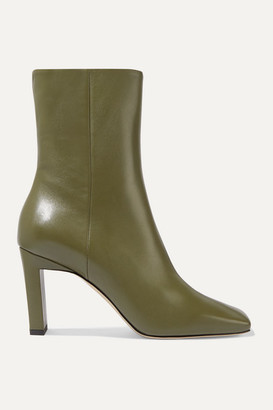 Wandler Isa Leather Ankle Boots - Army green