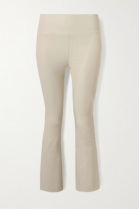 Sprwmn Cropped Leather Flared Pants - Off-white