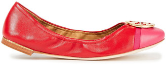 Tory Burch Minnie Embellished Color-block Leather Ballet Flats