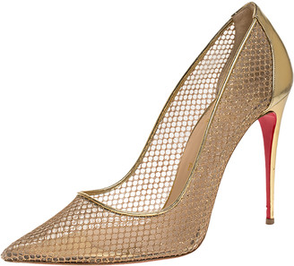Christian Louboutin Gold Mesh And Leather Follies Resille Pointed Toe Pumps Size 41