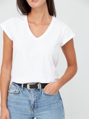 Very V-Neck Side Seam T-Shirt - White