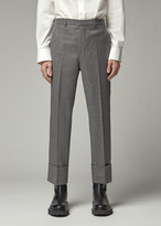 Givenchy Men's Skinny Turned Up Trouser Pants in Black/White Size 48 Wool/Viscose Lining