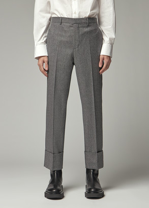 Givenchy Men's Skinny Turned Up Trouser Pants in Black/White Size 46 Wool/Viscose Lining