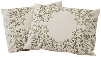 BEIGE GDF Studio 18 Green Leaf Embroidered Throw Pillows, Set of 2
