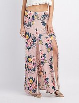 Charlotte Russe Floral Double Slit Maxi Skirt