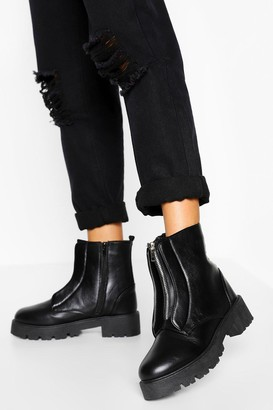 boohoo Zip Front Chunky Hiker Boots