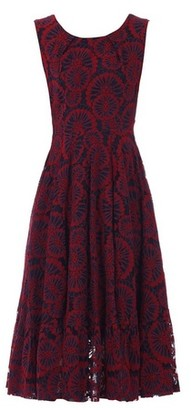 Dorothy Perkins Womens Jolie Moi Red Floral Print Lace Flare Hem Midi Dress, Red