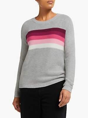 Collection WEEKEND by John Lewis Tonal Rainbow Drop Sleeve Jumper, Grey/Pink