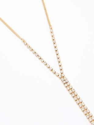 Very Rhinestone Long Choker Drop - Gold