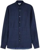 J.lindeberg Daniel Indigo Linen Blend Shirt
