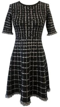 Taylor Windowpane-Print Fringed Fit & Flare Dress