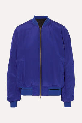 Haider Ackermann Silk-crepe De Chine Bomber Jacket - Blue