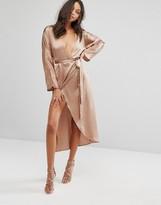 Missguided Silky Kimono Midi Dress