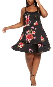 Sequin Hearts Trendy Plus Size Floral Fit & Flare Dress
