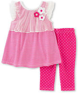 Kids Headquarters Baby Girls Two-Piece Striped Dress and Dot-Print Capri Pants Set