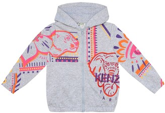 Kenzo Kids Printed cotton-blend jersey hoodie