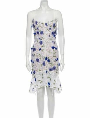 Marchesa Notte Lace Pattern Midi Length Dress w/ Tags White