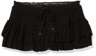Robin Piccone Women's Sophia Mesh Skirted Short Cover Up with Crochet Waist