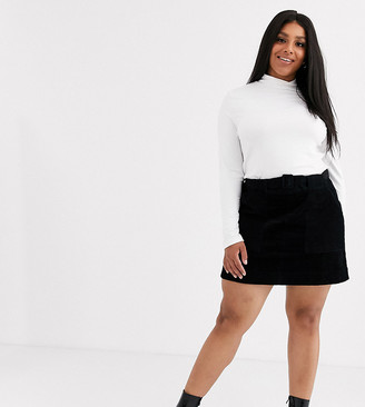 Asos DESIGN Curve utility pocket cord A line mini skirt with belt-Black